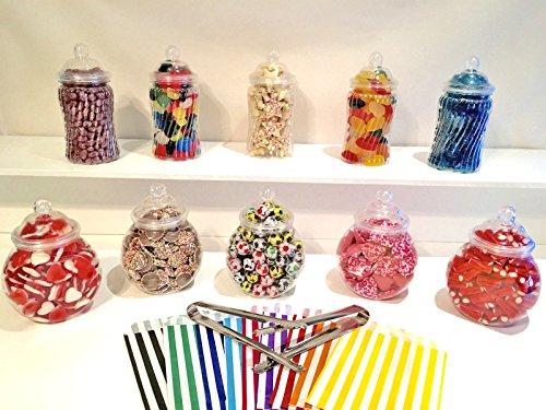 10bocaux à bonbons rétro en plastique - 2pinces et 50sachets à bonbons à rayures pour mariage, fête, baptême, etc.