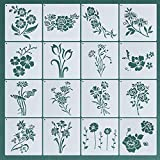 16PCS Flower Molds, Rose Sunflower Molds, Spring and Summer Mold Templates, Reusable Painting Molds and Metal Split Rings for Painting On Home Decoration On Wooden Walls7.9 x 7.9 Inches