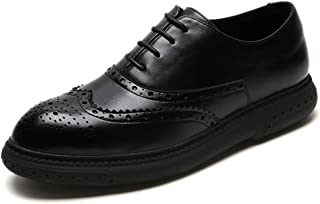 QinMei Zhou Brogue Carving Oxfords for Men Retro Dress Shoes Lace up Microfiber Leather Pointed Toe Perforated Wingtip Solid Color Flat Non-Slip (Color : Black, Size : 8 UK)