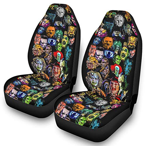 N/A Horror Movies Collag Front Bucket Car Seat Covers Automotive Interior Accessories Size Universal for SUV & Truck White OneSize