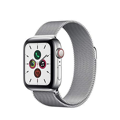 Apple Watch Series 5 40mm (GPS + Cellular) - Edelstahlgehäuse Silber Milanaise Armband (Generalüberholt)