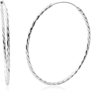 925 Sterling Silver/Stainless Steel Round Hoops Hoop Earrings for Women Jewelry Gift (Click Top/Endless)