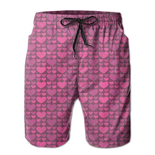 WANGKG Men's Big and Tall Swim Trunks Beachwear Drawstring Summer Holiday,Simplistic Love and Glamour Inspired Big Little Heart Shapes,3D Print Shorts Pants,XX-Large