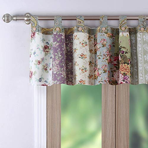 Greenland Home Blooming Prairie Authentic Patchwork Tab Top Window Valance