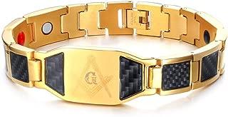 Carbon Fiber Stainless Steel Magnetic Therapy Freemason Masonic Link Adjustable Bracelet