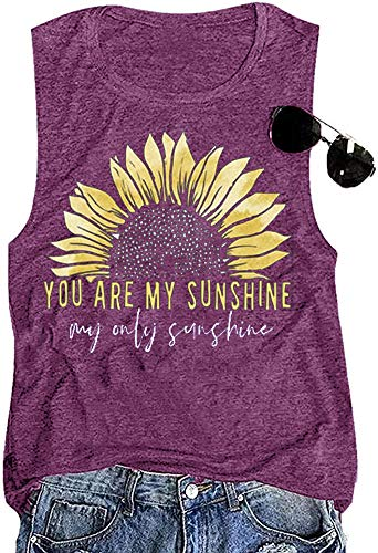 Sunflower Shirt Women You are My Sunshine Workout Tank Tops Cute Graphic Relaxed Athletic Holiday Vest Shirt Tee, Purple XL