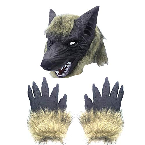 Wolf Head Halloween Scary Full Face Werewolf with Gloves for Halloween and Cosplay Costume Party Horror Nights Black 1PC