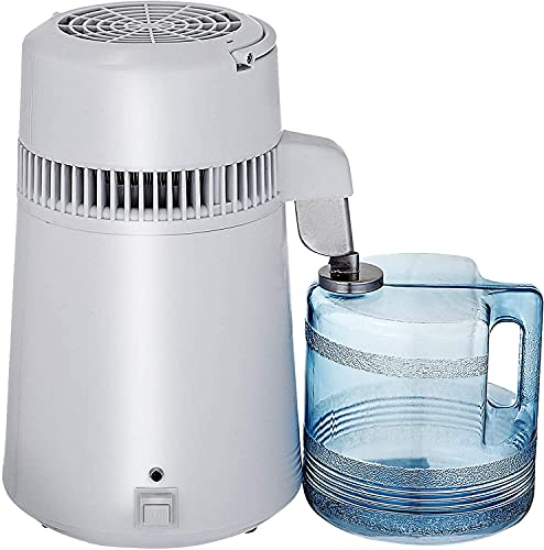 VEVOR Stainless Steel Water Distiller 750W Water Distillation Kit 1.1 Gallon/4 L Water Distiller Home Countertop Connection Bottle Food-Grade Outlet Glass Container (White)