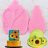 SKJH 2 unids/Set moldes de Silicona con Borde de Hoja Hojas de Girasol Cupcake Fondant Herramientas de decoración de Pasteles Dulces Arcilla moldes de Pasta de Goma de Chocolate