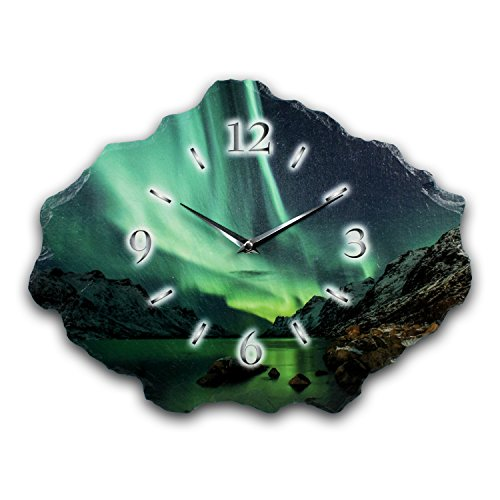 Kreative Feder Polarlicht Designer Wanduhr Funkuhr aus Schiefer *Made in Germany leise ohne Ticken WS221FL