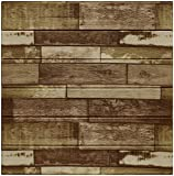 Fabulous Décor: Faux Wood Embossed 3D Wall Panels Soft Foam Thick 6mm Peel and Stick Textured Wallpaper Home Decoration, 4-Pack of 2.3ft X 2.3ft Total 21 SqFt (Reclaimed Brown)