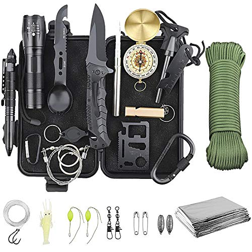 Emergency Survival Kit, Survival gear and equipment 30 in 1,Birthday gifts for friends male,Tactical gear,Camping gear and accessories,Fishing hiking hunting gear