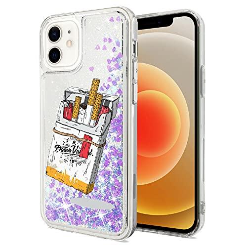 Mixroom - Custodia Cover Case per iPhone 6 con Brillantini Glitter in Gel Liquidi Quicksand Lilla Fantasia Pacchetto di Sigarette Codice 299
