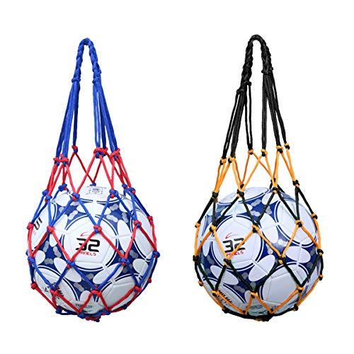 Ledeak 2 Piezas Bolso de Red de Fútbol Bola Bolsa de Viaje de Malla Impermeable Transportar Baloncesto Carry Net Bag Bolsa de Deporte de Almacenamiento de Hombro con Cordón para Voleibol Balones