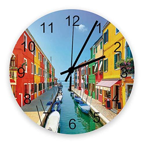 Reloj de pared con diseño de calles acuáticas, de madera, silencioso, sin garrapatas, Canal de Venecia, Italia, reloj de pared decorativo, funciona con pilas, 25,4 cm