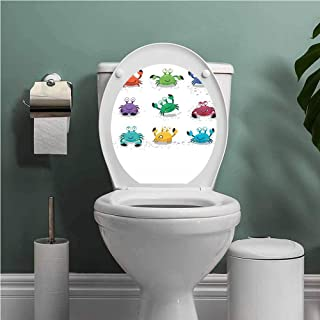 SCOCICI1588 Crabs Toilet Seats Wall Stickers Removable Joyful Set of Cartoon Colorful Crab Characters with Various Expressions and Emotions Bathroom Decoration Decal Multicolor W14XL14 INCH