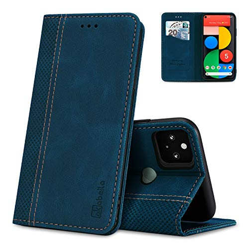 AKABEILA Google Pixel 5 Hülle Leder, Google Pixel 5 Handyhülle Silikon, Kompatibel für Google Pixel 5 Schutzhülle Brieftasche Klapphülle PU Magnetverschluss Kartenfächer Hüllen, Blau