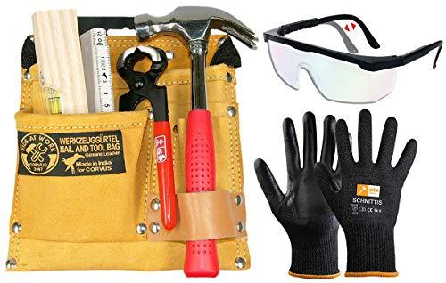 CORVUS Kinder-Werkzeug-Set mit Werkzeuggürtel 01 + Zubehör, Schutzbrille und...
