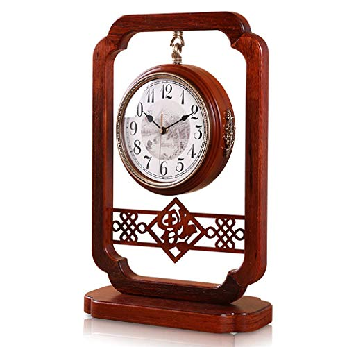 Reloj Despertador Mute chino Reloj de madera maciza de estilo retro Reloj de doble cara Reloj redondo 360 grados giratorio Decoración del hogar Reloj Reloj de cuarzo marrón Reloj de Escritorio