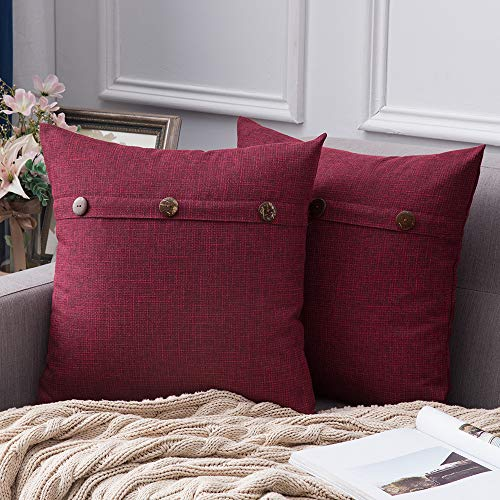 MIULEE Set of 2 Decorative Linen Throw Pillow Covers Cushion Case Triple Button Vintage Farmhouse Pillowcase for Couch Sofa Bed Decor 18 x 18 Inch 45 x 45 cm Cranberry Red