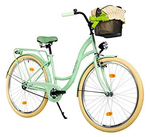 Milord. 28 Zoll 3-Gang Minze Komfort Fahrrad mit Korb Hollandrad Damenfahrrad Citybike Cityrad Retro Vintage