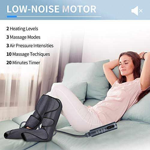 CINCOM Foot and Leg Massager with Heat, Air Compression Leg Massager for Circulation and Muscles Relaxation - 3 Modes, 3 Intensities, 2 Heating Super Quiet