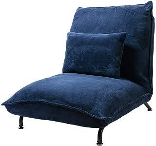 アイリスプラザ 座椅子 42段階リクライニング なめらかな肌触り ミニクッション付き ネイビー 幅68×奥行85~132×高さ30~76 CG-807-2M-MFB
