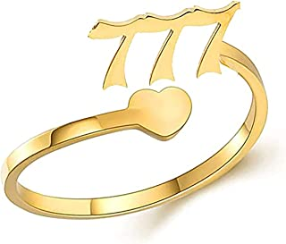 JAJAFOOK Stainless Steel Tarot Numerology Angel Number Ring, 000,111,222,333,444,555,666,777,888,999 Mysterious Tarot Nume...