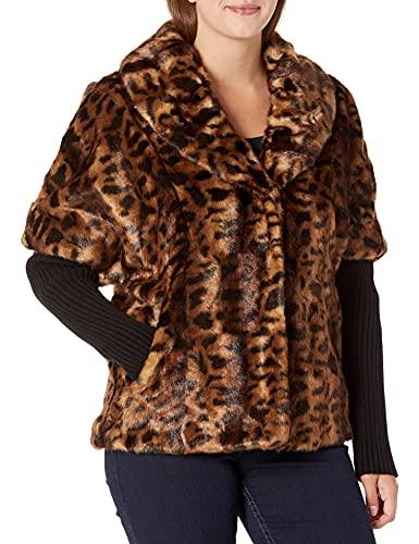 Calvin Klein Damen Short Faux Fur Jacket Kurze Kunstfelljacke, Leopardenmuster, schwarzer Strick, Small