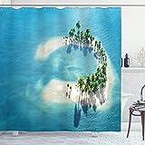ABAKUHAUS Insel Duschvorhang, Atoll-Palmen-Ozean, mit 12 Ringe Set Wasserdicht Stielvoll Modern Farbfest & Schimmel Resistent, 175x240 cm, Elfenbein Grün Blau