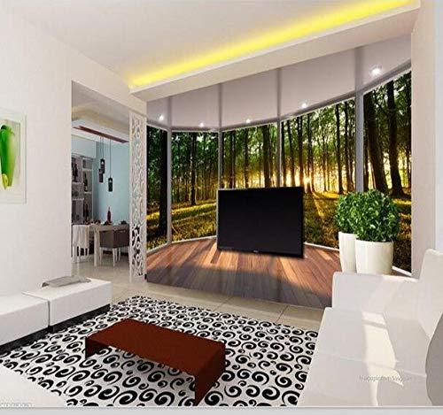 Stereoskopisches 3D-Fresko, Boden, Fenster, Waldlandschaft, 3D-TV-Hintergrund, Dekoration, Wohnzimmer-Sofa, nahtloser und integraler Anstrich, 200 × 175 cm