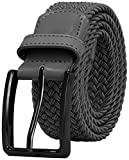 Falari Men Women Canvas Elastic Fabric Woven Stretch Braided Belt - 21 Variety Colors (1004 - Dark Grey, Large)