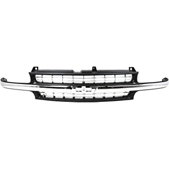 Grille Assembly Compatible with 1999-2002 Chevrolet Silverado 1500 Cross Bar Insert Plastic Chrome Shell and Insert with Center Bar