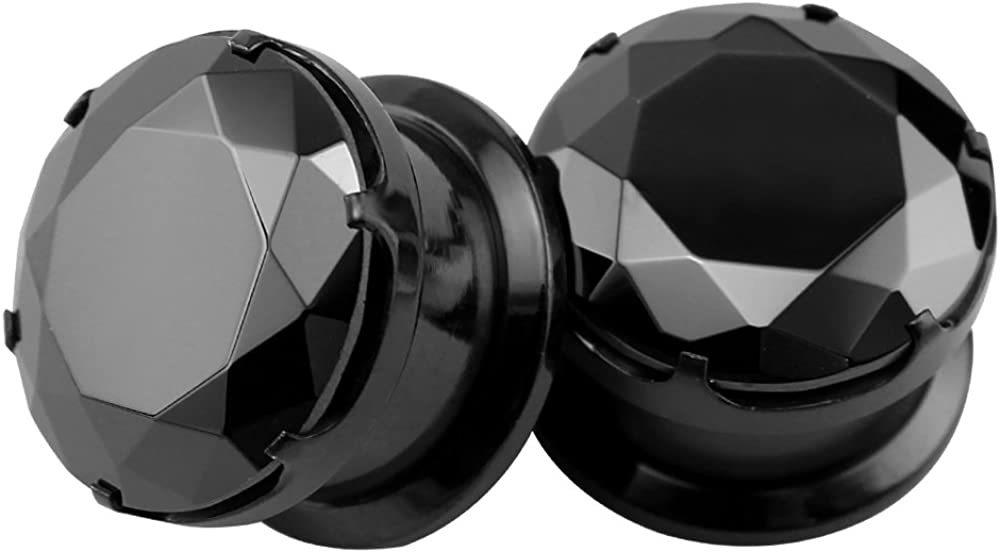 Rapid rise ZS Black CZ Stone Ear Gauges Tunnel Stainless Steel Plugs Long-awaited Screw