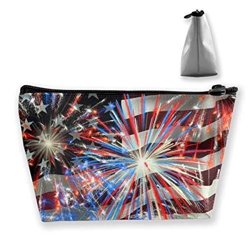 Trapezoid Makeup Pouch Storage Holder American Flag Firework Womens Travel Case Cosmetic Makeup Pouch