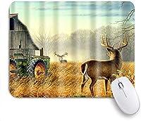 マウスパッド 個性的 おしゃれ 柔軟 かわいい ゴム製裏面 ゲーミングマウスパッド PC ノートパソコン オフィス用 デスクマット 滑り止め 耐久性が良い おもしろいパターン (自然の木動物鹿秋のシーンの農家)