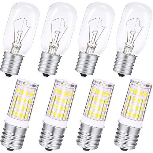 4 Pieces 6000K White 4W Non-Dimmable Microwave Light Microwave LED Bulb and 4 Pieces E17 40W Microwave Bulb Compatible with Most General Electric Replacement, LG, Frigidaire, Kenmore Microwave