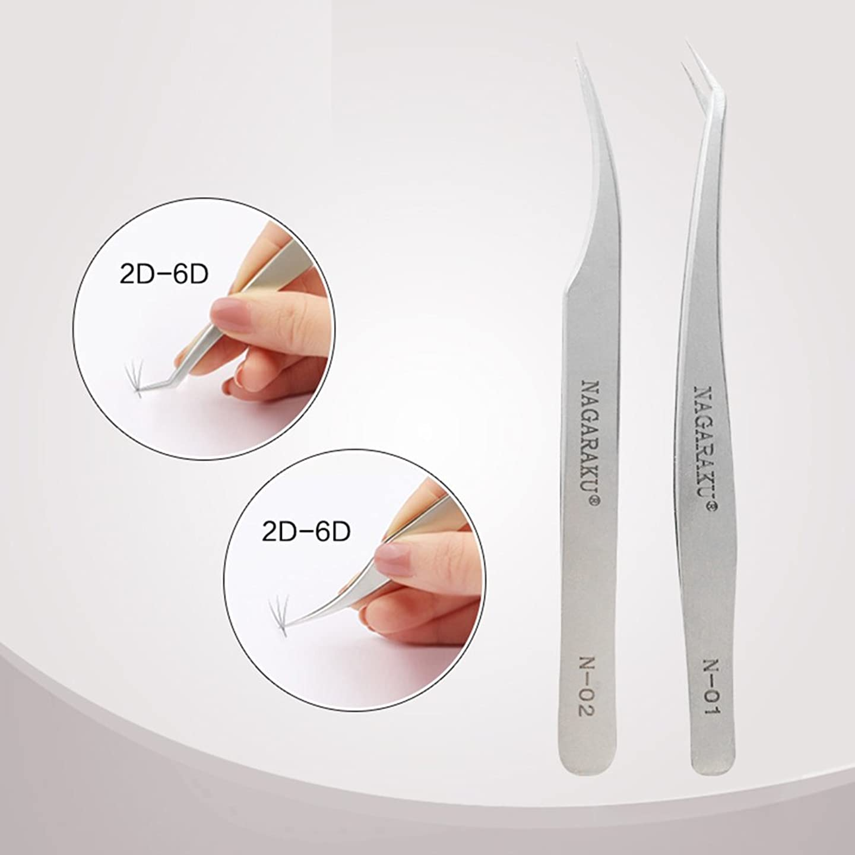 ワードローブ従事した外科医NAGARAKU 2pcs tweezers pincet for professional eyelash extension volume flower bloom eyelash tweezers stainless steel metal