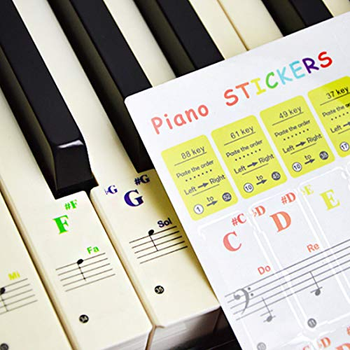 YOUYIKE Autocollants de Piano pour 37/49/61/88 Clavier,Piano Clavier Notes Transparent et Amovible,idéal pour Enfants et Débutants (La couleur)