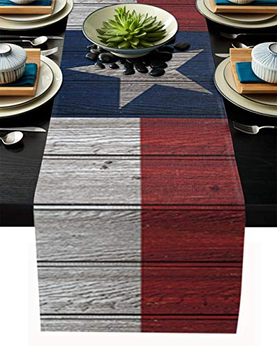 Linen Burlap Table Runner, Texas State Flag on Vintage Wooden Board Dresser Scarf for Family Dinner, Outdoor or Indoor Parties, Farmhouse, Thanksgiving, Christmas & Gathering 13'x108'