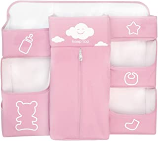 Nursery Organizer and Hanging Baby Diaper Caddy Organize Diaper Stacker Storage for Changing Table Crib Playards  Pink