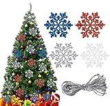 Adornos colgantes de copos de nieve navideños, 24 piezas de copos de nieve navideños con adornos colgantes con cuerda, colgante de Navidad rojo, azul, plateado, blanco y brillante para árbol