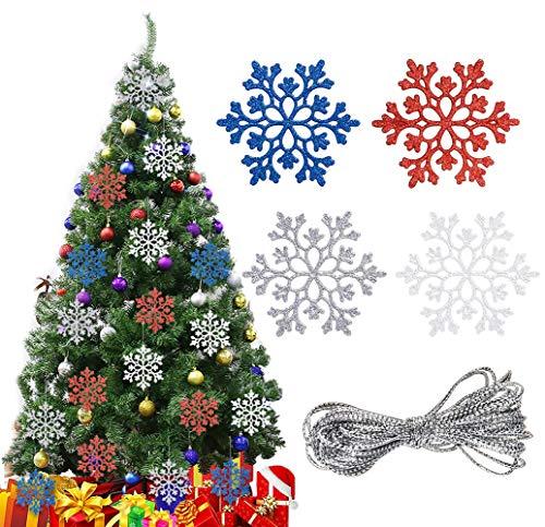 Weihnachtsdeko Schneeflocken zum Hängen, 24Stück Weihnachten Schneeflocke Anhänger Weihnachtsbaumschmuck Deko Hängend Ornamente mit Schnur, Rot Blau Silber Weiß Glitzer Weihnachtsanhänger Fensterdeko