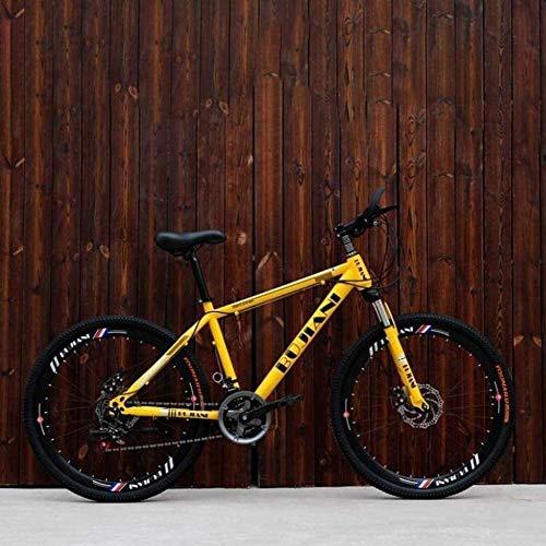 Mountain Bike, Double Disc Brake Off-Road Snow Bikes, City Road Racing Bike, 24 Inch Wheels Beach Bicycle BXM Bike (Color : Yellow, Size : 21 Speed)