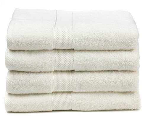 "Ariv Collection Premium Bamboo Cotton Bath Towels - Natural, Ultra Absorbent and Eco-Friendly 30"" X 52"" (White)"
