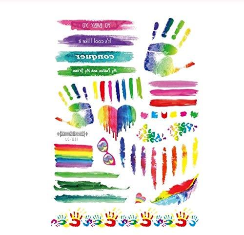 DRTHUKG Tattoo Aufkleber Regenbogen-Tätowierungs-Aufkleber-Schimmer-Blumen Taty Bunte Schmetterlings- Tätowierungs-Vorübergehende Tätowierungs-Aufkleber Für Körper Y
