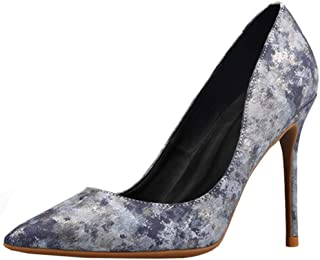 Zanpa Elegant Women Floral Pumps Stiletto Heels Office Dress Shoes Pointed Toe Cocktail Heels Evening Party Shoes Grey Size 34