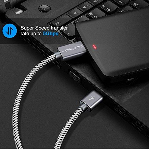 CableCreation Micro USB 3.0 Kabel, 30cm USB 3.0 A auf Micro B Kabel für Externe Festplatte, HD-Kamera, Ladekabel kompatible mit Samsung Galaxy S5, Note 3 usw, 1FT, Space grau Aluminium