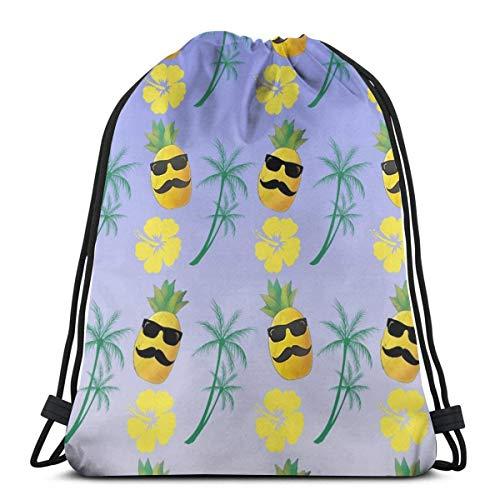 LREFON Mochila con cordón para gimnasio, mochila con diseño de piña para hombre, mochila para viajes, organizador de zapatos, hombro escolar, botella de agua para niños
