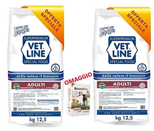 vet line 2 Sacchi da 12,5 kg Adulti Monoproteico al Bufalo Piu 1 Omaggio Biscotti Plus Giuntini snackgiuntini
